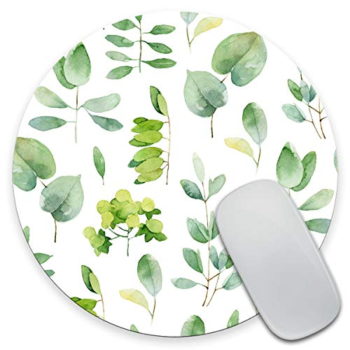 Amcove Green Leaf Mouse Pad Leaves Mouse Pad Round Mousepad Office Decor Mouse Mat Office Gift Mouse Pad Leaf Watercolor Mousepad Square Mouse Pad