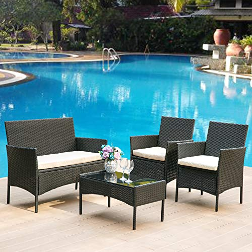 LZ Leisure Zone Black Rattan Graden Furniture Set Outdoor Garden Indoor Conservatory 4 Pcs Set Rattan Sofa Chairs with Rattan Table