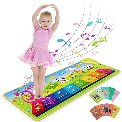 RenFox Piano Matte, Baby Klaviermatte Tanzmatte Musikmatte, 7 Tierstimmen Klaviertastatur Spielzeug Musik Matte, Keyboard Matten Spielteppich Baby Tanzmatte für Jungen Mädchen Kinder