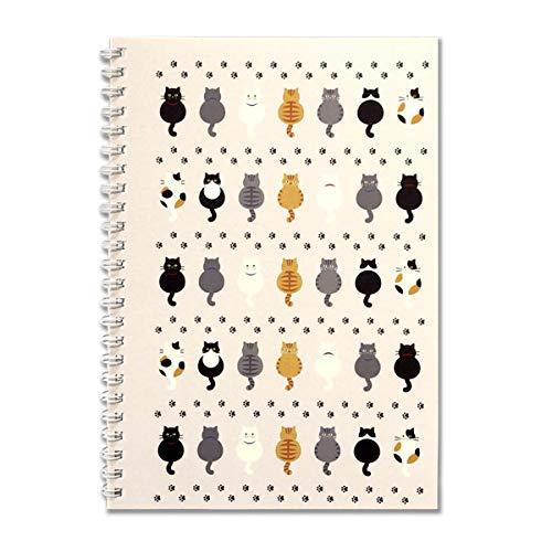 A5リングノート 「7匹の猫&あしあと」 ネコ 生活雑貨 動物 かわいい メモ帳 日用品 グッズ