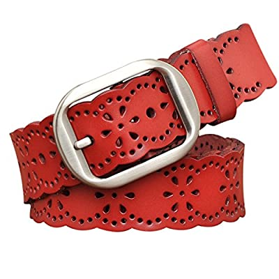TUNGHO Vintage Womens Hollow Flower Belt Genuine Leather Belts With Needle Buckle Plus Size Nice Gift Box(3XL, Dark Brown)