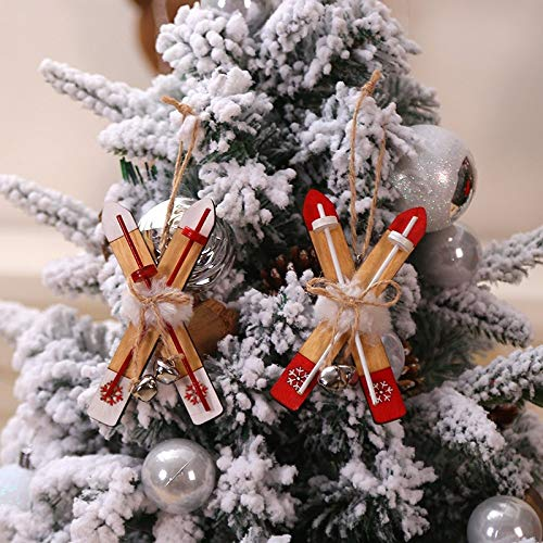 ZXXFR Kerstboom Decoraties, 2 Stks Kerstmis Houten Slee Decoratie Kerstmis Kerstmis Touw Klokken Hangende Hanger Drop Home Decoratieve Ornament Kerstmis Party Decoratie