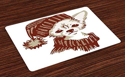 ABAKUHAUS Chihuahua Placemat Set van 4, Hat en Trui Puppy, Wasbare Stoffen Placemat voor Eettafel, Dark Rust Dusk and White