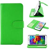 RUBAN Case Compatible with Samsung Galaxy S5 - PU Leather Folio Wallet Flip Case Cover for Samsung Galaxy SV/Galaxy S V (2014) with Credit ID Card Holder/Money Pockets - Green