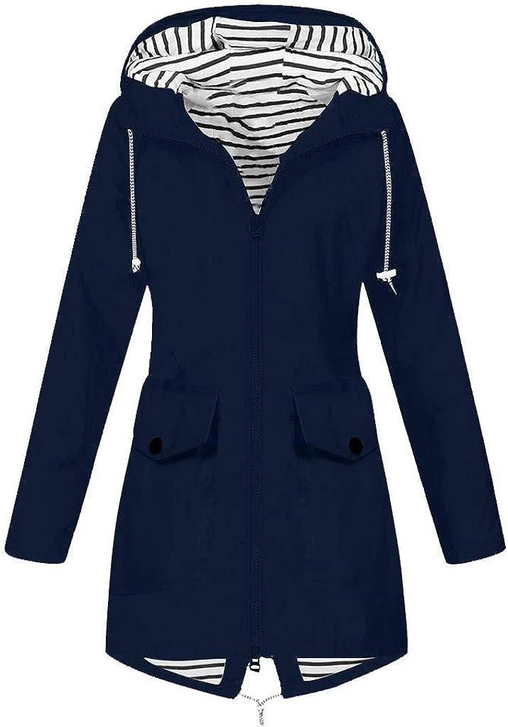 BEUU Women Light Rain Jacket Waterproof Hooded Active Outdoor Trench Raincoat Windebreaker Plus Size for Women