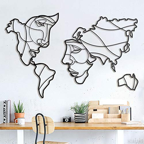 Hoagard Faces of World Map Wall Art 105cm x 68cm Metal Wall Deco Decoración Minimalista Hogar Decoración
