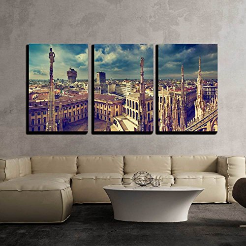 """wall26 - 3 Piece Canvas Wall Art - Milan, Italy Panorama. View from Milan Cathedral. Royal Palace of Milan - Modern Home Decor Stretched and Framed Ready to Hang - 16""""x24""""x3 Panels"""