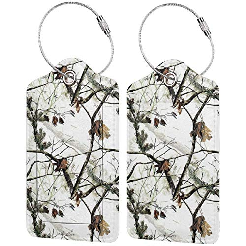 PU Leather Luggage Tag, White Realtree Camo Suitcase Baggage Label Tags, Business ID Card Holders Gifts for Travels Set of 2