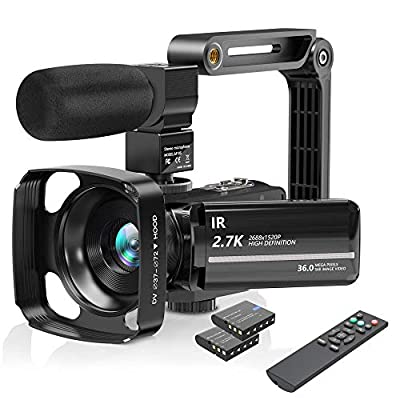 Camcorder Video Camera with Microphone, 2.7K UHD Vlogging Cameras for YouTube IR Night Vision 30FPS 36MP 16X Digital Zoom Camcorder 3.0 Inch 270° Rotatable Touch Screen Remote Control 2 Batteries by NAPATEK