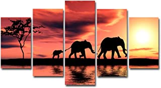 Bestmaple Modular Canvas Wall Art Pictures 5 Pieces Landscape Sunset Paintings Elephant Framily Artwork Living Room Printed Home Decor Without Frame (Elephant Framily)