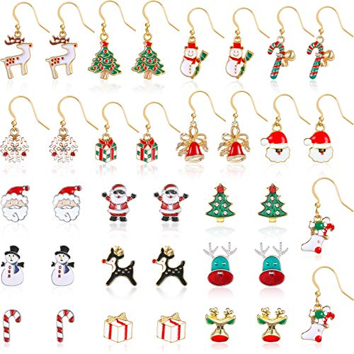 18 Pairs Christmas Stud Earrings and Dangle Earrings Xmas Earrings Set Cute Festive Jewelry for Women Girls