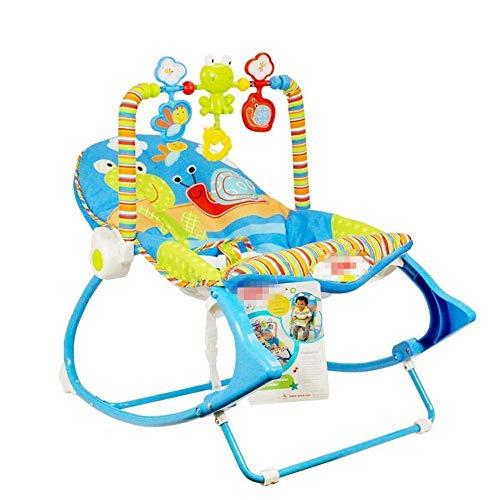 WYJW Baby schommelstoel, multifunctionele elektrische schudstoel geluid vibratie kinderen licht opvouwbare massage ligstoel schommelstoel, Blauw, 1