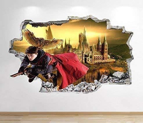 1Stop Graphics Shop Harry Potter Wandaufkleber 3D Optik - Schlafzimmer Kinder Hogwarts Wand Abziehbilder Z587 - Large: 70 cm x 111 cm
