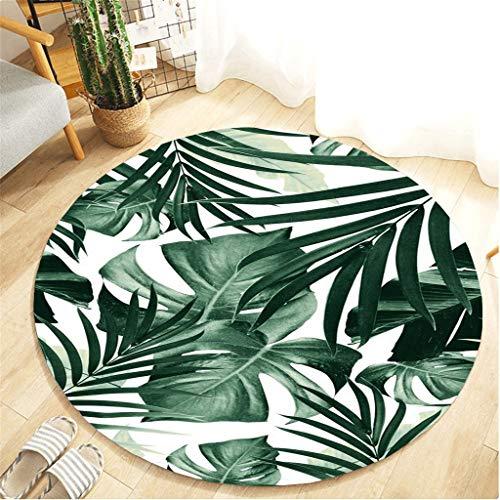Scrolor Runde Teppiche Bodenteppich für Wohnzimmer Dekoration Schlafzimmer Kissen weichen Flanell Material Tropische Pflanzen Muster