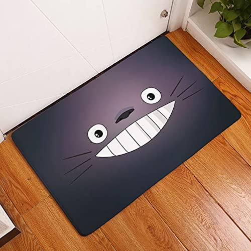 LZTY Felpudo Totoro Gato Animales Lindos Impresos Franela Suave Alfombra de Puerta Antideslizante felpudos de Entrada para Piso de...