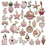 keleily ciondoli assortiti placcati,31 pezzi ciondoli bracciali fai da,charms smaltati assortiti ciondoli per ciondoli creazione di collane bracciali orecchini portachiavi creazione di gioielli