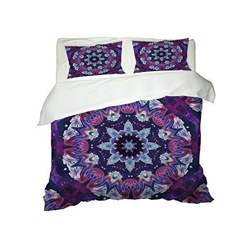 Kekeyt Duvet Cover Sets Mandala Pattern Purple Double Bed Sheets And Duvet Cover Kids Single Duvet Cover Set 3D Hd Printing 135 X 200 Cm-Cotton adult children's bedding