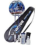 Victor Ti 7 - Juego de bádminton para 2 jugadores, 2 raquetas, 1 bolsa y 3 volantes, color azul/blanco/negro