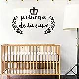 Pegatinas de pared de vinilo español princesa coronada calcomanía desmontable papel tapiz artístico moda pintura decorativa simple A7 55x80 cm