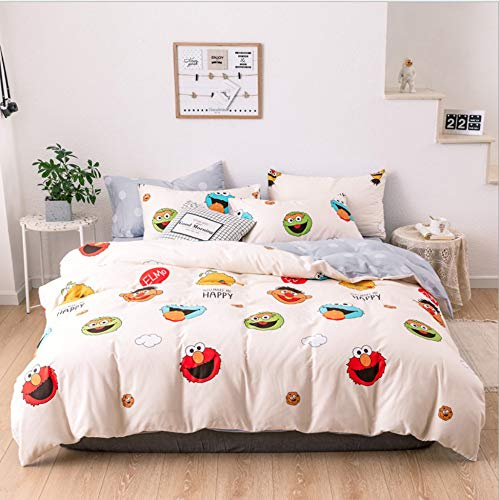 DUIPENGFEI Autumn and winter cotton is soft, quilt cover, bed sheet, pillowcase, 3 piece set, white clown fish, suitable for 1.2m single bed