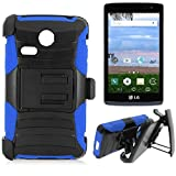 SlickGears Heavy Duty Combat Armor Dual Layer Belt Clip Holster Kickstand Carrying Case for LG Lucky L16C / LG Sunrise L15G TracFone, Straight Talk, Net10 (Blue)