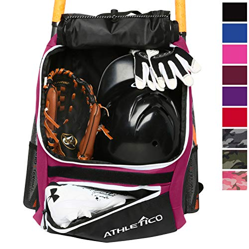 Athletico Baseball Bat Bag - Backpack for Baseball, T-Ball & Softball Equipment & Gear for Youth and Adults | Holds Bat, Helmet, Glove, & Shoes |Shoe Compartment & Fence Hook (Maroon)