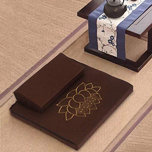 AICH Estera Hecha a Mano de la meditación, cojín al Aire Libre Plegable portátil de la Yoga del Lino de la Fibra de Coco del cojín del Piso