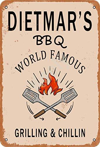 Keely Dietmar'S BBQ World Famous Grilling & Chillin Decorazione da Parete in Metallo Vintage con targhetta in Metallo 12x8 Pollici per Bar, ristoranti, Pub, Uomo, Grotta Decorativa