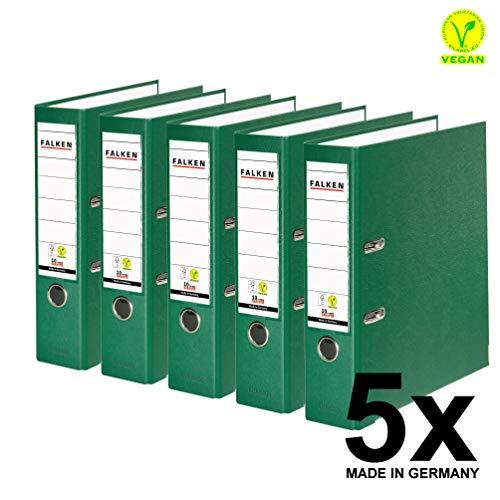 Original Falken 5er Pack PP-Color Kunststoff-Ordner. Made in Germany. 8 cm breit DIN A4 grün Vegan Ringordner Aktenordner Briefordner Büroordner Plastikordner Schlitzordner