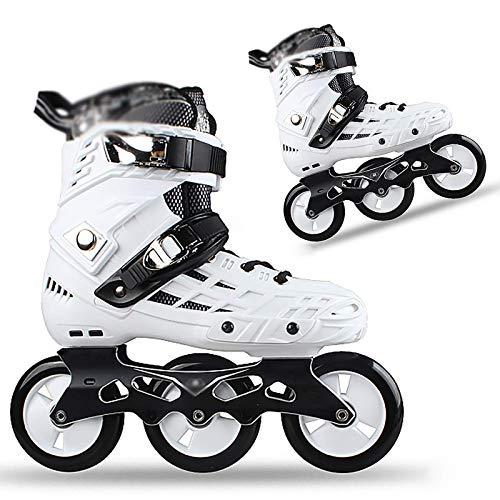 Patines En Línea Zapatos De Patinaje De Velocidad para Adultos Patines para Damas Neumáticos De Poliuretano Resistentes Al Desgaste Patines En Línea Tres Ruedas Principiante 35-44, Negro, 39