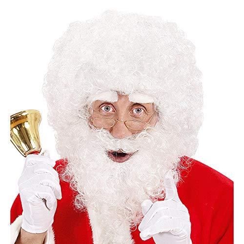 Widmann 1530B Kerstman pruik en krullende baard met wenkbrauwen, wit