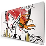Ye Hua Extra Large Mouse Pad -Okami Metal Amaterasu Desk Mousepad - 15.8x29.5in (3mm Thick)- XL Protective Keyboard Desk Mouse Mat for Computer/Laptop