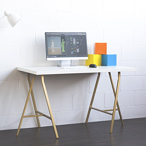 White Wood and Gold Computer Desk with Trestle Legs