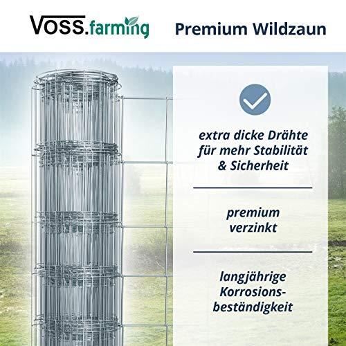 VOSS.farming 50m Wildzaun 80/06/15 Drahtzaun 80cm hoch Knotengittergeflecht, Wildabwehr, Forstzaun, Knotengitter, Wildschutz, 2,5mm Draht, Gehege, Weidezaun, Verbissschutz