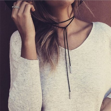 FXmimior Women Necklace Multilayer Black Long Choker Punk Rock Handmade Layered Bar Party Wedding Necklace Jewelry For Women