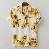 Camisa Hawaiana Camisas Hawaianas para Hombres Camisas con Botones HawaianosTops conEstampado De Flores De SolCasual Secado Rápido Manga Corta Fiesta De Vacaciones De Verano Camisa De Pla