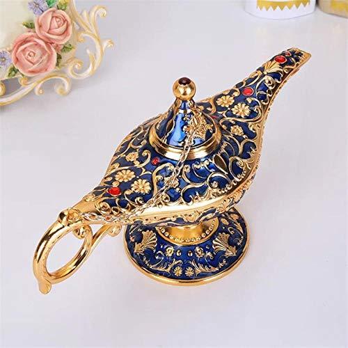 niawmwdt Lámpara De Aladin Tradicional Ahueca hacia Fuera Cuento De Hadas Mágico Aladin Wishing Genio Lámpara Tetera Retro Accesorios De Decoración para El Hogar Azul Profundo