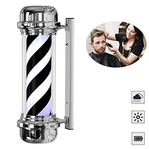 XCJJ Barber Pole Light, Logo de salon de coiffure, Led, Éclairage rotatif, Rétro, mural, intérieur et extérieur, 71 cm, rayures noires et blanches, 71 cm,71cm