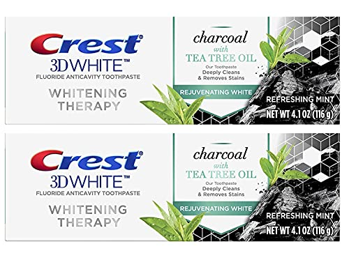Crest 3D White Whitening Therapy Toothpaste, Charcoal with Tea Tree Oil, Refreshing Mint, 4.1 oz (116g) - 2 Tubes