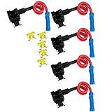 graceme 5coche ATO ATC Add A Circuit de derivación Micro Low Profile fusibles Portafusibles con 520A Auto fusibles planos Juego de fusibles