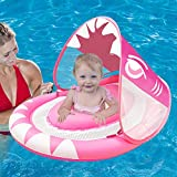 Camlinbo Shark Baby Swimming Pool Float Ring with Removable Sun Canopy, Newest Inflatable Babies Spring Floatie Double Airbag Swim Trainer Newborn Infant Toddler (Pink)