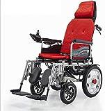 GYPPG Silla de Ruedas eléctrica reclinable con reposacabezas Silla de Ruedas autopropulsada Scooter portátil Plegable Silla de Ruedas Inteligente Multifuncional-Rojo