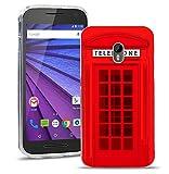 FoneExpert® Motorola Moto G (3. Generation) Handy Tasche, Ultra dünn TPU Gel Hülle Silikon Hülle Cover Hüllen Schutzhülle für Motorola Moto G (3. Generation) + Bildschirmschutzfolie (Telephone Booth)