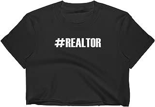 Hashtag Realtor - Read Estate Agent Slogan Womens Crop Top T-Shirt