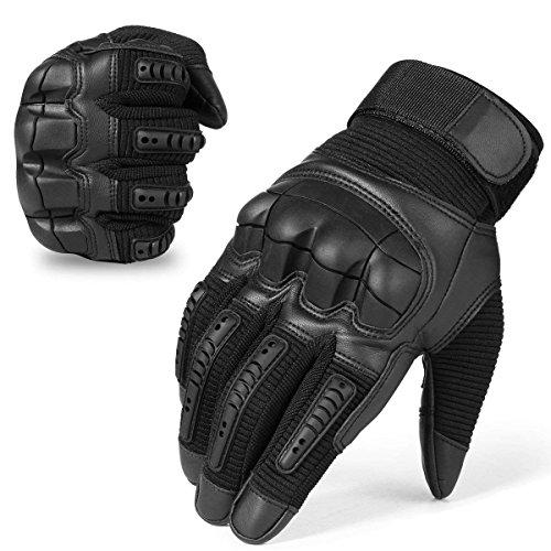 Militärische taktische Touchscreen-Handschuhe aus Gummi, harte Fingerknöchel, Vollfinger-Handschuhe für Kampf, Motorrad, Jagd, Wandern XL Schwarz