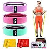 Fitnessband Widerstandsbänder Set, [Set of 3] Resistance Loop Band +[Set of 2] Skin-Friendly...