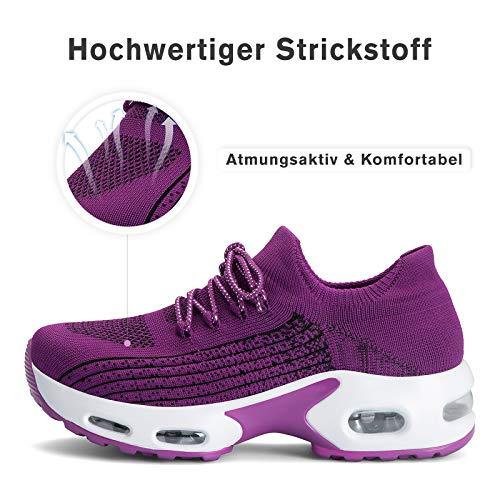 Mishansha Zapatillas Mujer Deporte Gimnasio Zapatos Mesh Ligero Bambas para Andar Correr Casual Sneakers Morado B N, Gr.41 EU