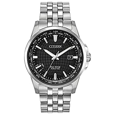 Men's Citizen BX1000-57E World Time Watch with Black Dial and Silver-Tone Bracelet