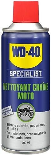 WD-40 Specialist Moto Nettoyant Chaîne Aérosol Sèche rapidement Ne laisse pas de résidus Aide à réduire l'ususe 400 ML