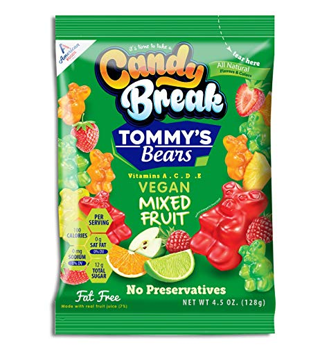 Candy Break Tommy#039s Bears Vegan Gummy Candy Bags Fresh Snacks for Kids Mixed Fruit 450 Ounce Pack of 12